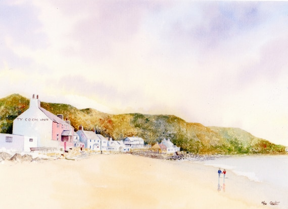 Ty Coch, Porthdinllaen, Hand finished and personalised very limited edition print on watercolour paper, couple on beach, Morfa Nefyn beach