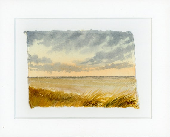 Original mounted deckled edged watercolour beach painting, sand dunes near Southport on handmade paper. Ainsdale and Birkdale Art gift UK