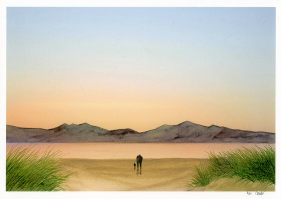 Newborough Beach, Anglesey, Hand finished limited edition print on watercolour paper, Couple and dog at sunset, personalised original art