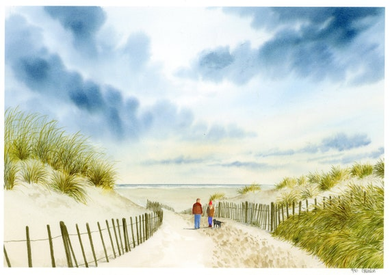 Formby Beach, hand finished very limited edition print on watercolour paper, hand painted couple and dog on beach 'Down To Formby Beach'