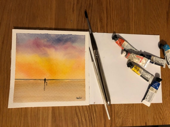 Square small original watercolour beach painting,  figure and dog on sunset beach,  affordable hand painted delicate watercolor gift,  UK
