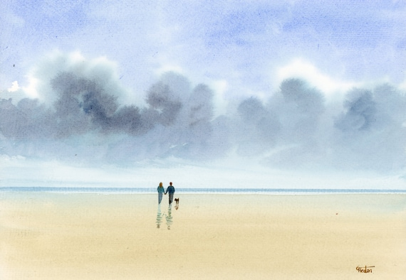 Original watercolour painting, 'Chance Of Rain' couple and dog on beach, A4 size watercolor, original art gift from the artist England UK.
