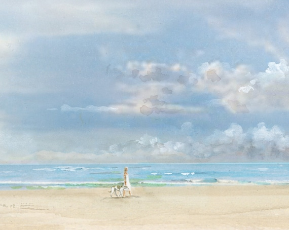 Original watercolour painting, girl and greyhound dog on stormy beach, A4 size watercolor, original art gift direct from the artist in UK