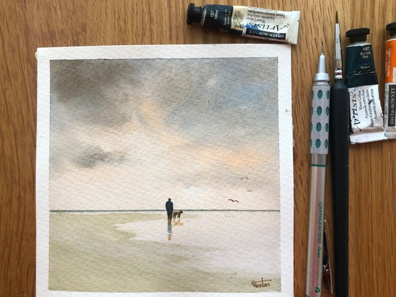 Square small original watercolour beach painting,  Man and dog in neutral tones  affordable hand painted delicate watercolor gift,  UK