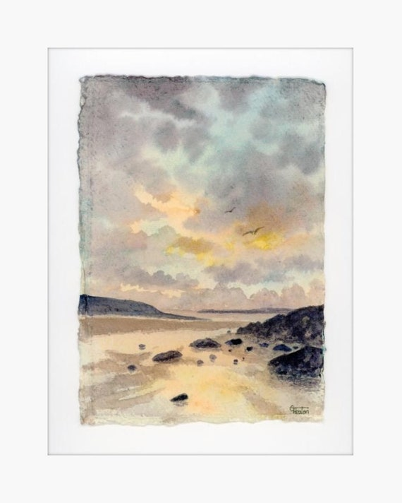 "Original 12"" x 10"" mounted deckled edged watercolour Pembrokeshire beach painting on handmade paper. West Angle Bay Beach, Art gift from UK"