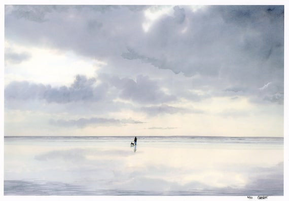 Very limited edition print from an original watercolour painting 'Digger', figure and dog on beach, only 50 worldwide