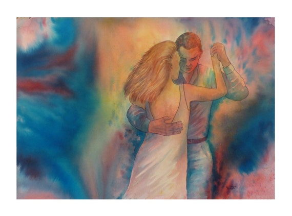 Very limited edition (just 25 worldwide) fine art print from an original watercolour 'Last Dance' Bachata, Kizomba, Salsa Dancers,  dancing
