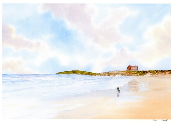 New for 2021 Fistral Beach, figure and dog Hand finished very limited edition print on watercolour paper, hand painted art gift, Newquay