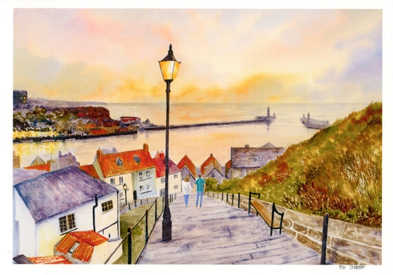 New for 2021 '199 Steps, Whitby', couple hand finished very limited edition print from a watercolour painting, signed and numbered