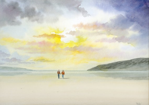 Original watercolour painting,  Couple on sunset beach, 32 cm x 24 cm watercolor, romantic art gift, valentine, anniversary, birthday, love