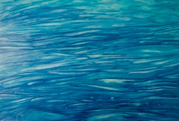 Original A3 abstract watercolour painting, 'Healing Waters'  painted on Yupo paper, modern art direct from artist in UK.  Blue abstract art