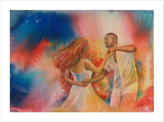 Very limited edition just 25 worldwide fine art print from an original watercolour,  signed and numbered, Salsa dancers painting, dancing