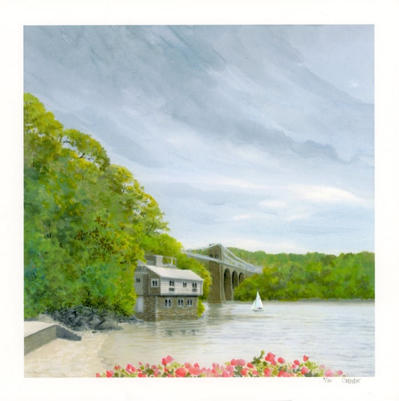 Menai Strait, Anglesey, square 29cm x 29cm hand finished very limited edition print,  Menai Bridge and boathouse, hand painted art