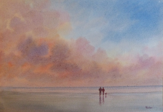 """Original watercolour painting, 'A Time For Us' Couple and dog on sunset beach, 210 x 297 mm (11.7"""" x 8.3"""") A4  watercolor, romantic art gift"""
