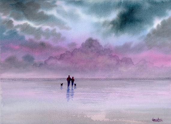 "Original watercolour painting,  Couple and dogs on stormy beach, 210 x 297 mm (11.7"" x 8.3"") A4  watercolor, romantic art gift, dog walkers"