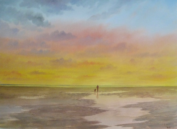 """Original very large 30"""" x 22"""" watercolour painting, figure and dog on sunset beach, huge statement piece on 100% cotton paper, Imperial"""