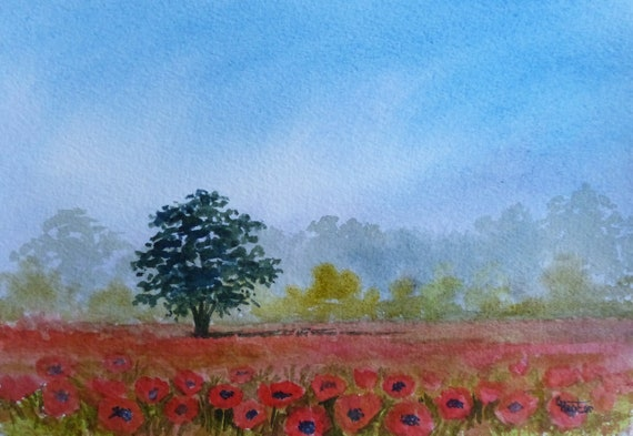 Original small watercolour painting, 'Morning Poppies',  A5 size affordable and original landscape art, unique poppy landscape watercolor