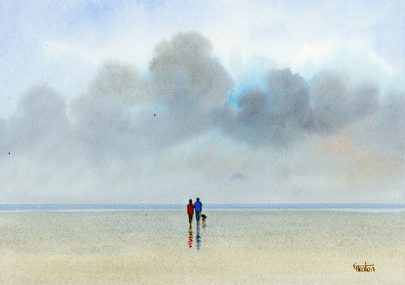 Original small watercolour beach painting, couple and dog on stormy beach, hand painted watercolor gift A5 Size, UK artist. unique art gift