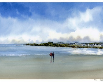 Trearddur Bay, hand finished very limited edition print on watercolour paper,  hand painted figures on Anglesey beach, Holyhead, Wales