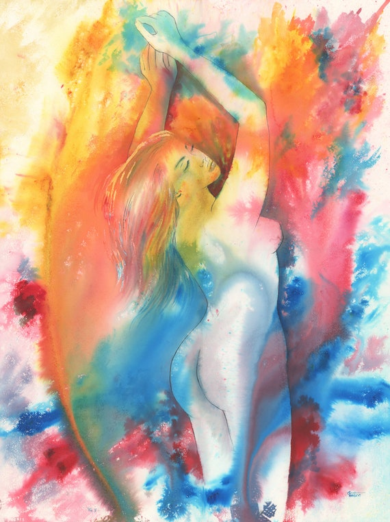 "Original very large 30"" x 22"" nude watercolour painting, 'Catching Rainbows', huge statement piece on 100% cotton paper, vibrant watercolor"