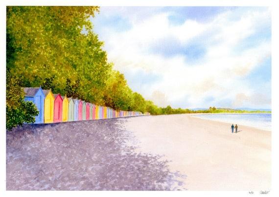 Llanbedrog Beach Huts, Hand finished and personalised very limited edition print on watercolour paper, couple on beach, Llŷn peninsula Wales