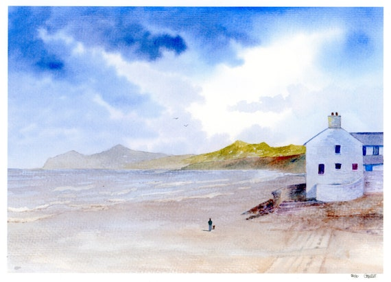 Morfa Nefyn Beach, Hand finished very limited edition print on watercolour paper, figure and dog on beach unique art gift