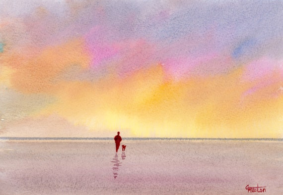 Original small watercolour beach painting, 'An Early Walk'  original art, figure and dog on beach, unique hand painted watercolor gift
