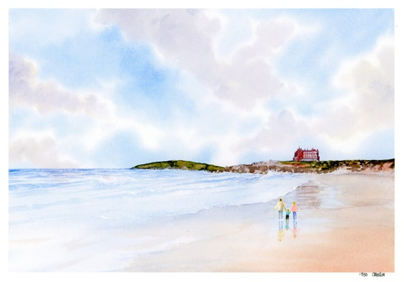 New for 2021 Couple and child on Fistral Beach, Hand finished very limited edition print on watercolour paper, Newquay, Cornwall  art