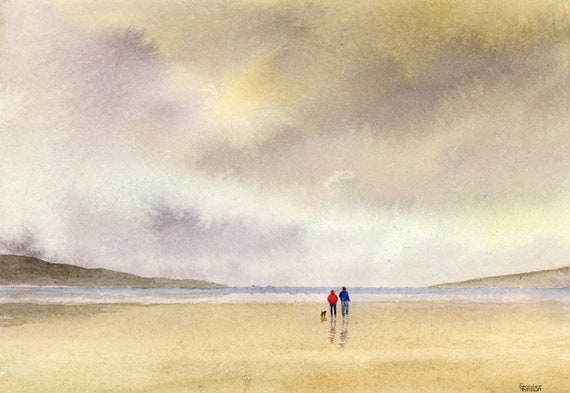 Original small A5 watercolour beach painting, couple and dog on stormy beach, watercolor art gift direct from the artist in England UK