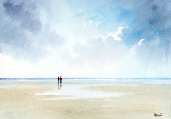 Original small A5 watercolour romantic beach painting, couple on beach. Watercolor art gift direct from the artist in England, UK