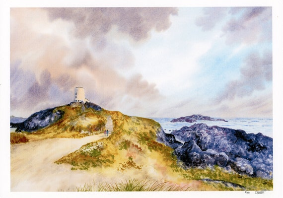 New 2021 Llanddwyn Island, Anglesey, Hand finished very limited edition print on watercolour paper, Newborough beach Couple personalised art