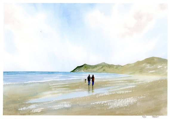 Couple and Dog on Nefyn beach, A4 very limited edition print from an original watercolour painting 'Leading The Way', Llyn Peninsula, Wales