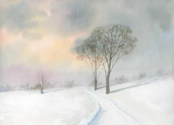 """Original 16"""" x 12"""" watercolour painting, personalised for a bespoke finish, snow scene landscape, watercolor art, 100% cotton paper A3"""