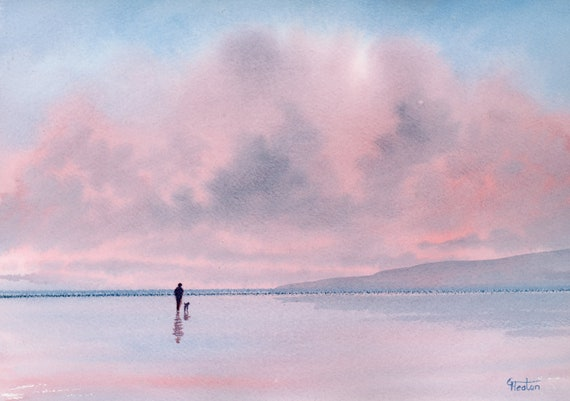 "Original watercolour painting,  'Pink Skies' figure and dog beach, 210 x 297 mm (11.7"" x 8.3"") A4  watercolor,  art gift, seascape storm"