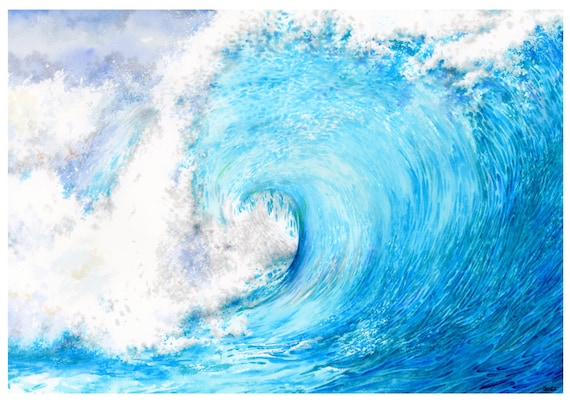 Limited edition A3 size print 'The Wave' from an original watercolour painting direct from the artist in UK.  Water, sea, ocean, waves, blue