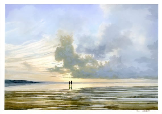 Very limited edition print from an original watercolour painting 'Always And Forever', romantic couple on sunset beach, only 50 worldwide