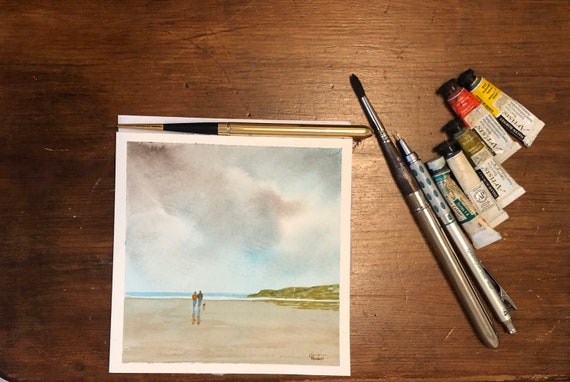 Square small original watercolour beach painting,  couple and little dog on beach hand painted delicate romantic watercolor art gift  UK