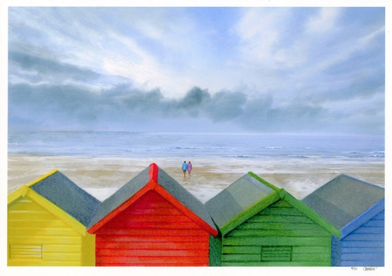 Whitby Beach Huts, Hand finished and personalised in watercolour, very limited edition print, choice of hand painted figures, unique art