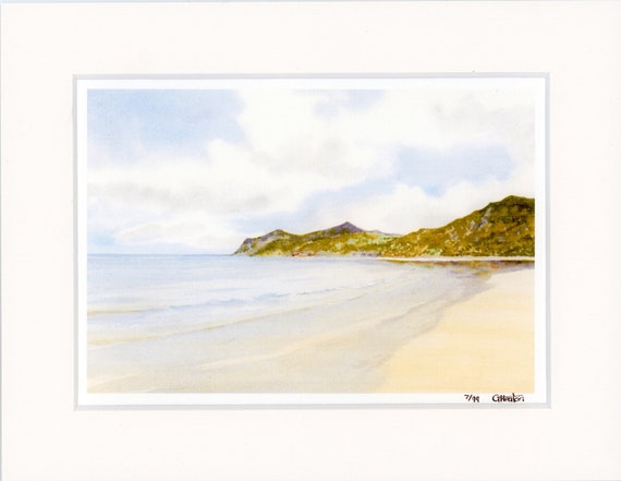 """Nefyn Beach Mounted 9"""" x 7"""" Limited Edition Print on watercolour paper from an original painting direct from the artist. Only 99 worldwide"""