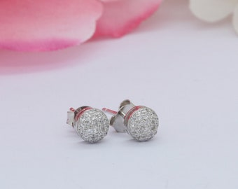 2fe1cf112 5mm Half Ball Stud Earrings Round Simulated Diamond Solid 925 Sterling  Silver