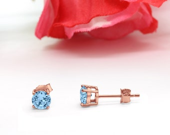 Rose Gold Aquamarine Raw Drop Earrings