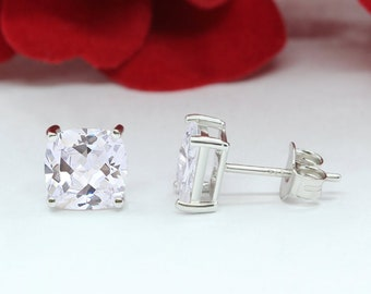 Rhodium Over 925 Sterling Silver Stud Earrings Cushion 5.8Ct Halo Stud Earrings