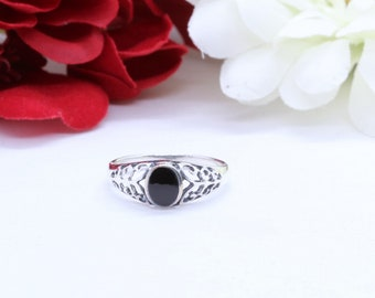 8mm Round Black Onyx Ring Solid 925 Sterling Silver Antique Vintage Style Oxidized Cable Braided Band Flower