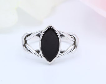 12mm Celtic Knot Marquise Black Onyx Ring Solid 925 Sterling Silver Antique Vintage Style Ring
