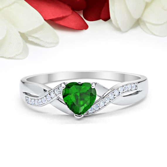 Infinity Shank Heart Promise Ring Wedding Engagement Bridal Ring Solid 925 Sterling Silver Choose Color Heart Ring