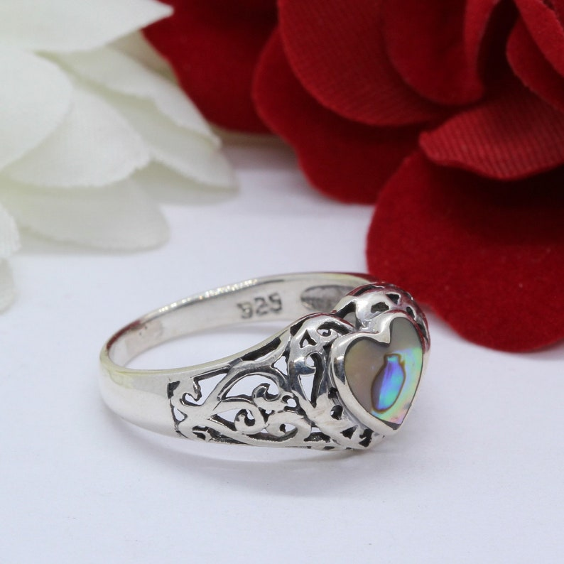 Heart Simulated Abalone Ring Solid 925 Sterling Silver Antique Vintage Style Filigree Heart Filigree