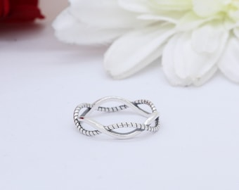 5mm Infinity Twisted Rope Braided Crisscross Band Ring Solid 925 Sterling Silver Petite, Dainty, Thumb Ring