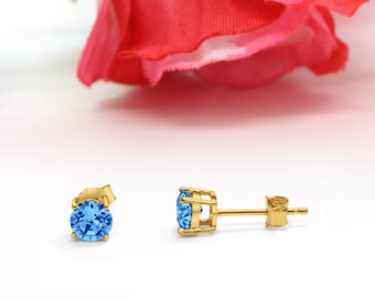 3mm-10mm Round 14K Yellow Gold Solid 925 Sterling Silver Solitaire Stud Post Earrings Round Simulated Swiss Blue Topaz December Month Stone