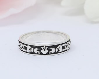 5mm Celtic Claddagh Band Ring Oxidized 925 Sterling Silver Thumb Ring