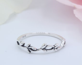 4.5mm Vine Simple Plain Leaves Ring Band Thumb Ring Solid 925 Sterling Silver Oxidized Leaf Vine